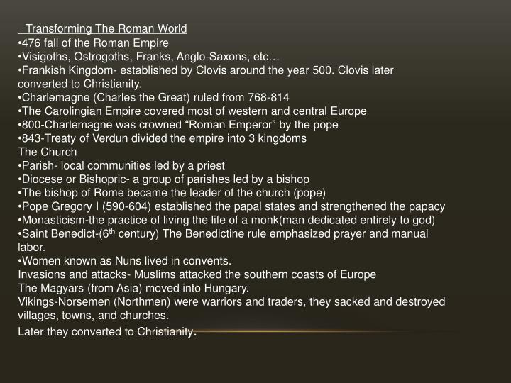 Transforming The Roman World