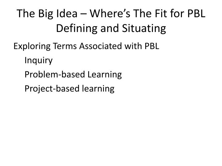 The big idea where s the fit for pbl defining and situating