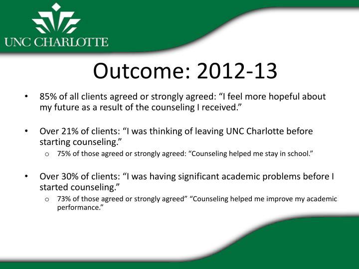 Outcome: 2012-13