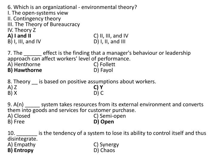 6. Which is an organizational - environmental theory?