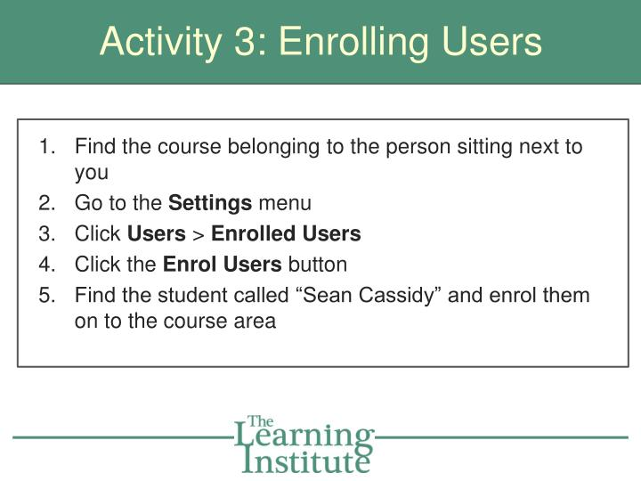 Activity 3: Enrolling Users