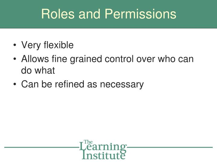 Roles and Permissions