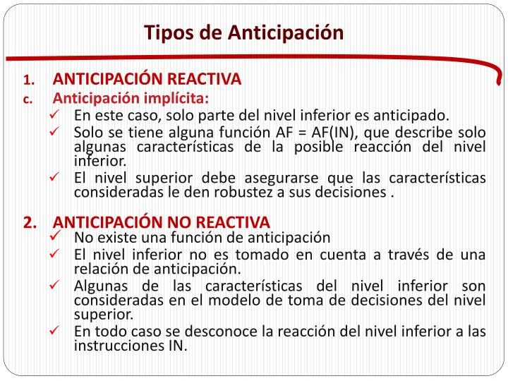 Tipos de Anticipación