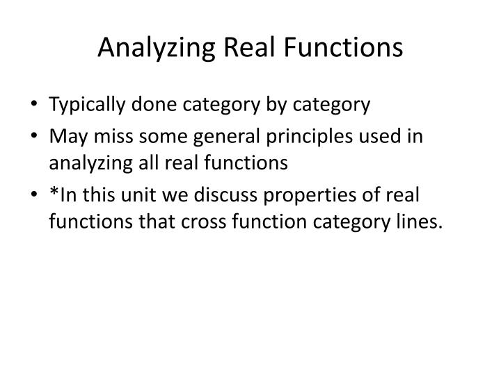 Analyzing real functions