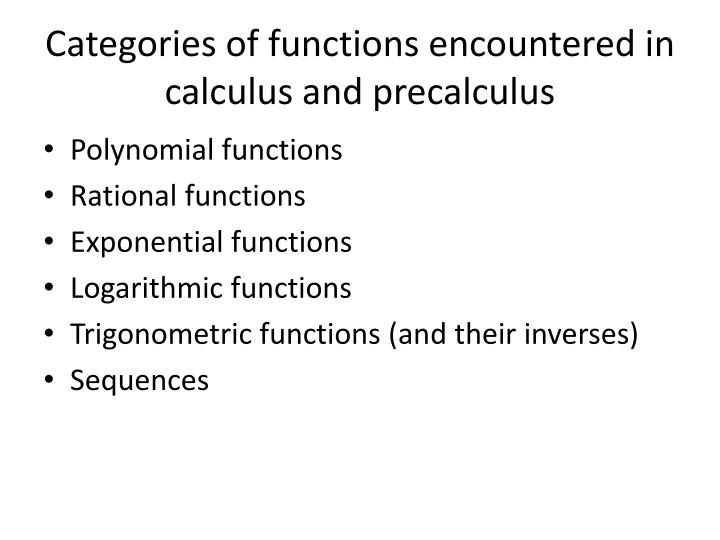 Categories of functions encountered in calculus and precalculus