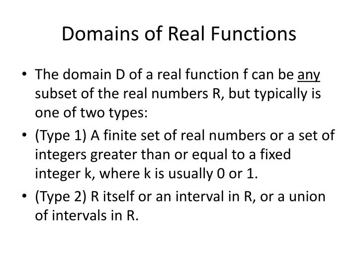 Domains of Real Functions