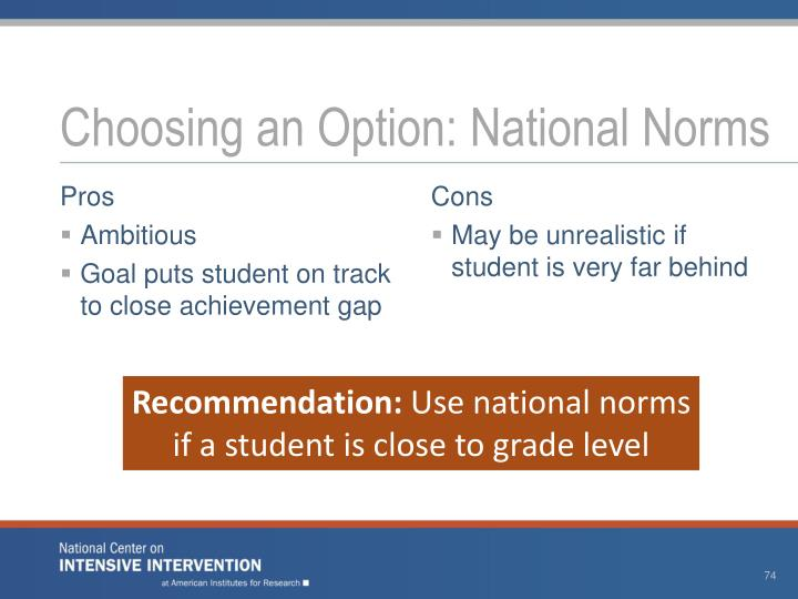 Choosing an Option: National Norms