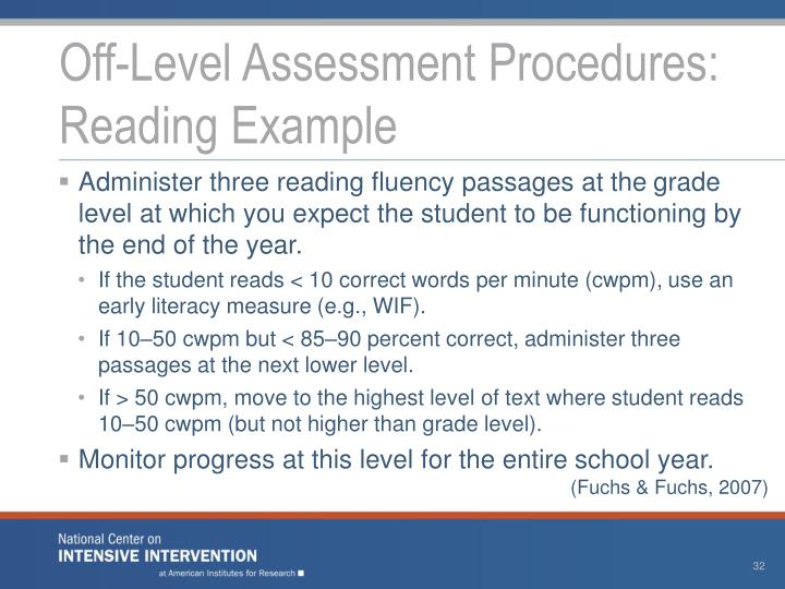 Off-Level Assessment Procedures: Reading Example
