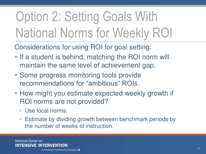 Option 2: Setting Goals With National Norms for Weekly