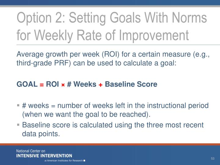 Option 2: Setting Goals With Norms for Weekly Rate of