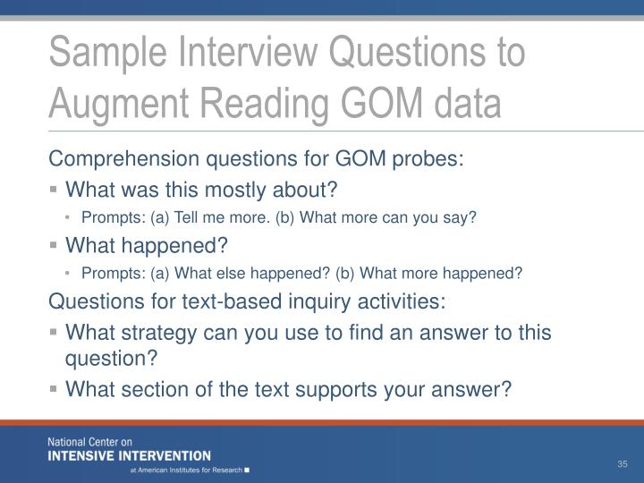 Sample Interview Questions to Augment
