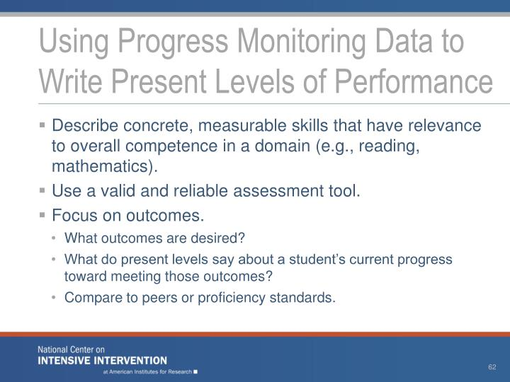 Using Progress Monitoring Data to Write Present Levels of Performance