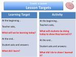 create a lesson lesson targets
