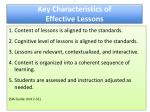 key characteristics of effective lessons effective lessons