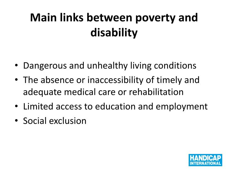 Main links between poverty and disability