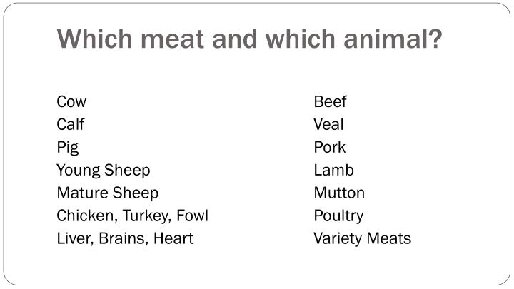 Which meat and which animal?