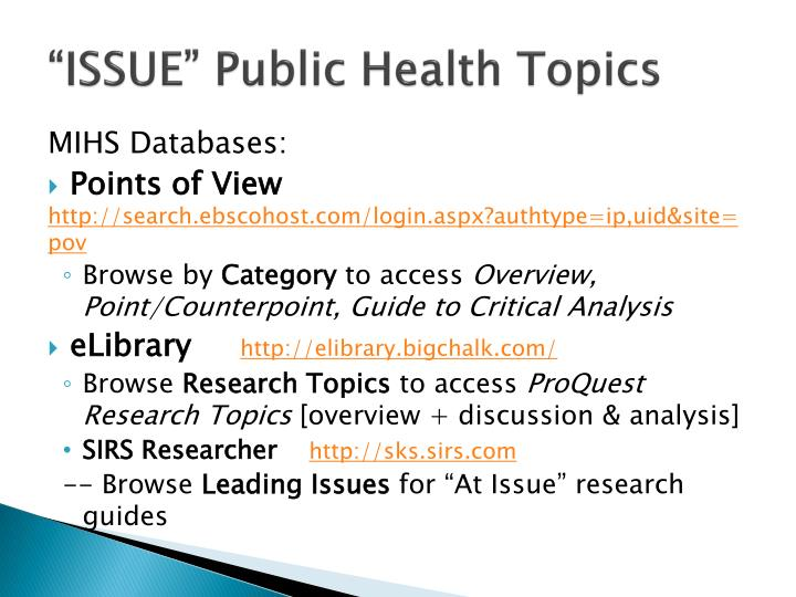 """ISSUE"" Public Health Topics"