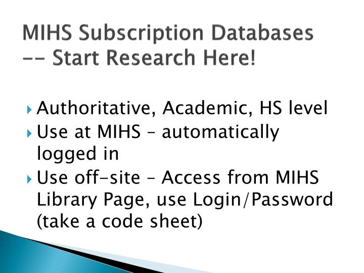 MIHS Subscription Databases