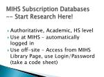 mihs subscription databases start r esearch h ere