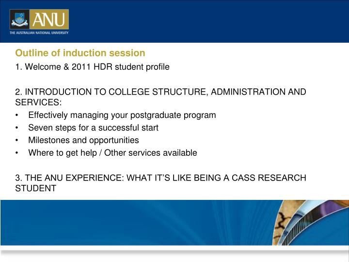 Outline of induction session