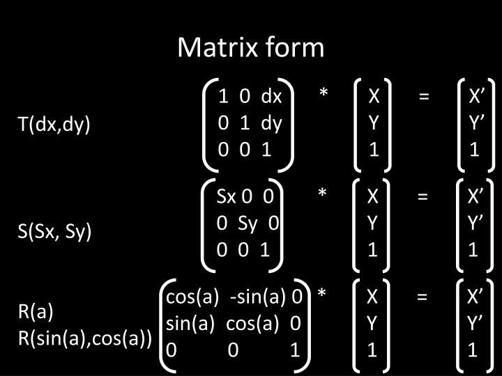 Matrix form