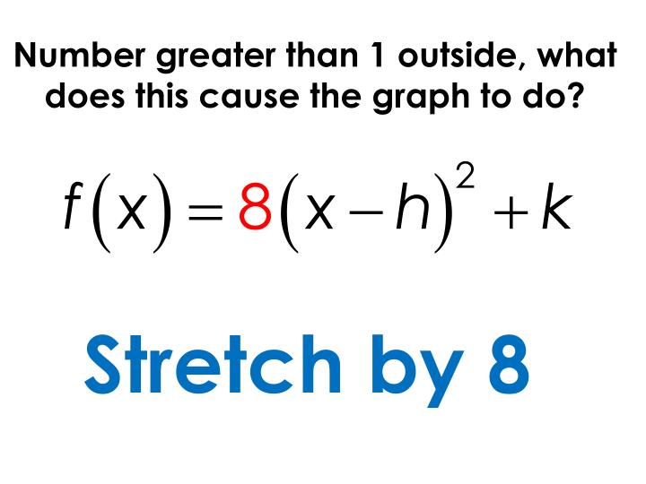 Number greater than 1 outside, what does this cause the graph to do?