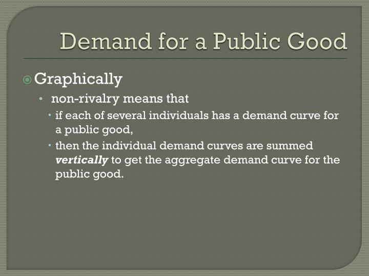 Demand for a Public Good
