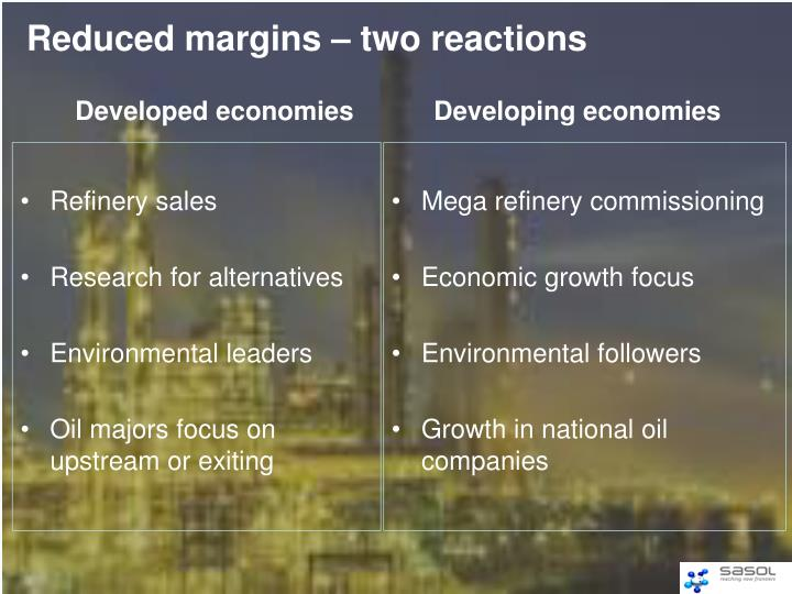 Reduced margins – two reactions