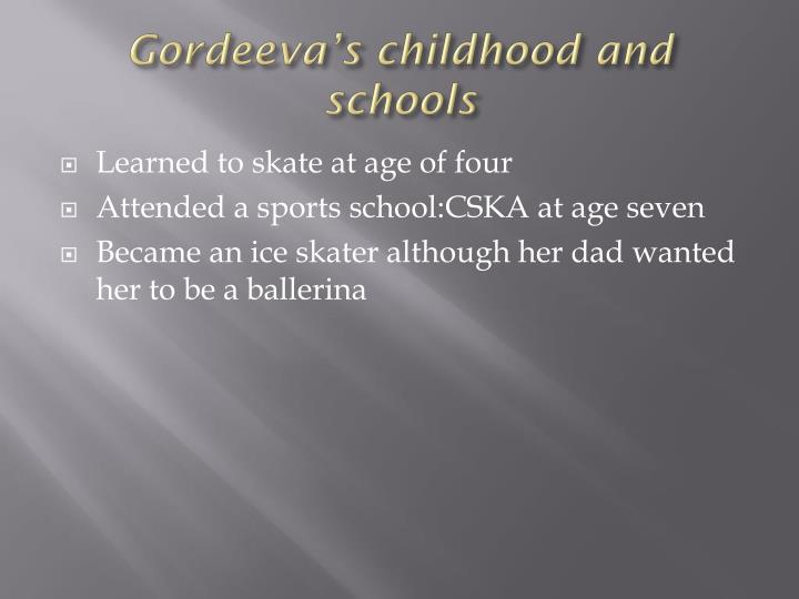 Gordeeva's childhood and schools