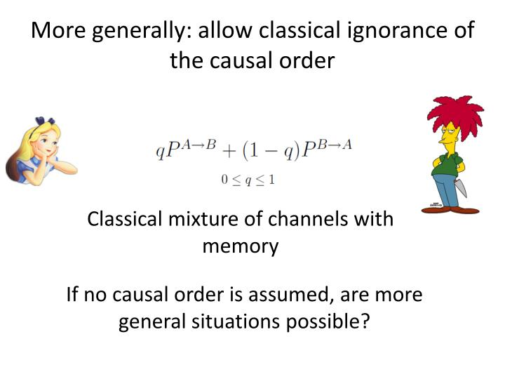 More generally: allow classical ignorance of the causal order