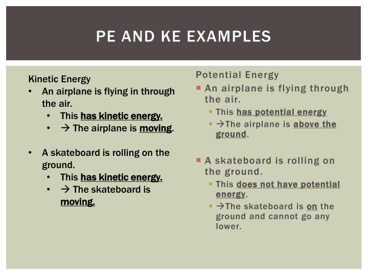 PE and KE Examples