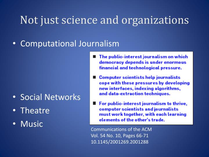 Not just science and organizations