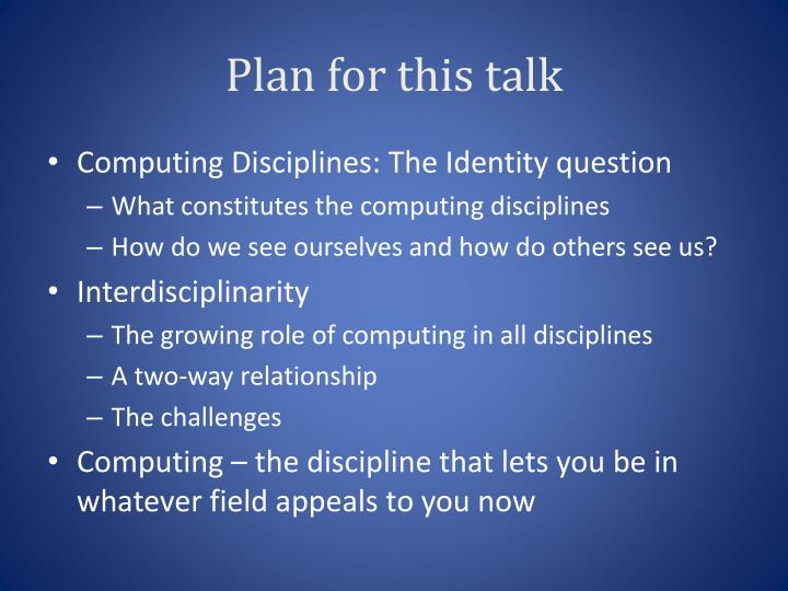 Plan for this talk