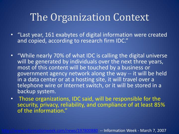 The Organization Context
