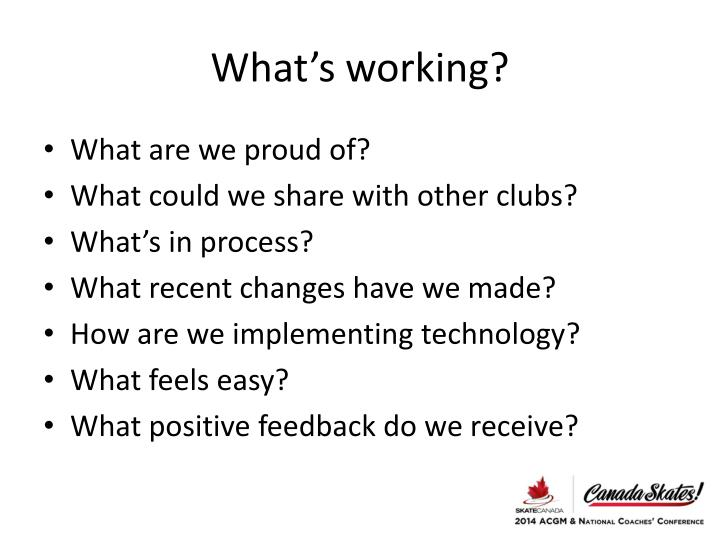 What's working?