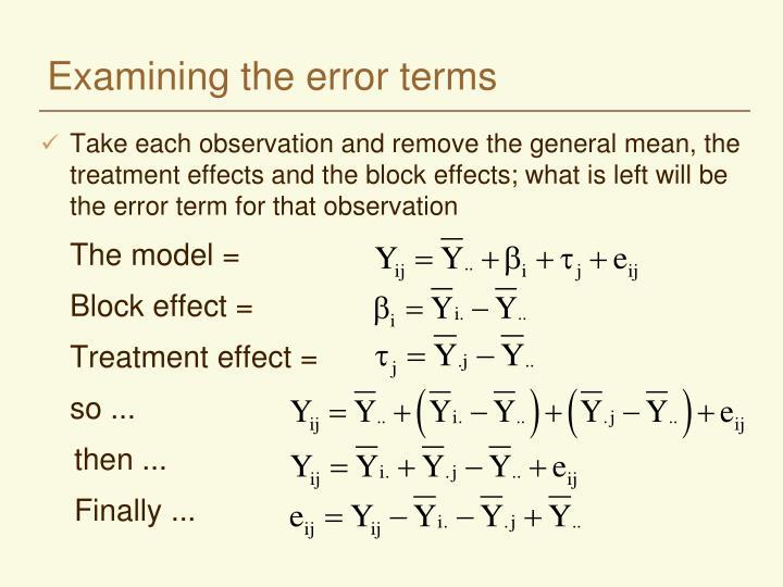 Examining the error terms