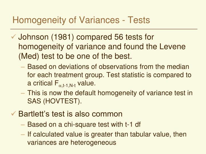 Homogeneity of Variances - Tests
