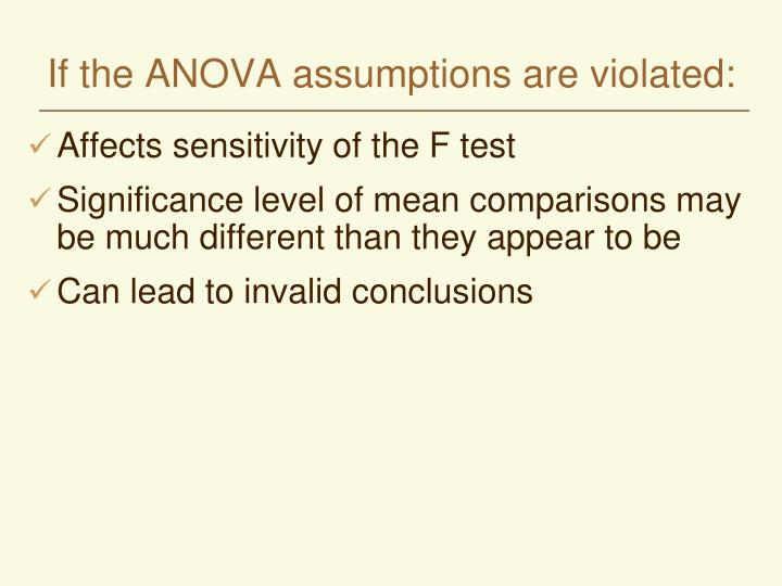 If the ANOVA assumptions are violated: