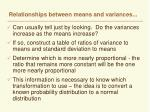 relationships between means and variances