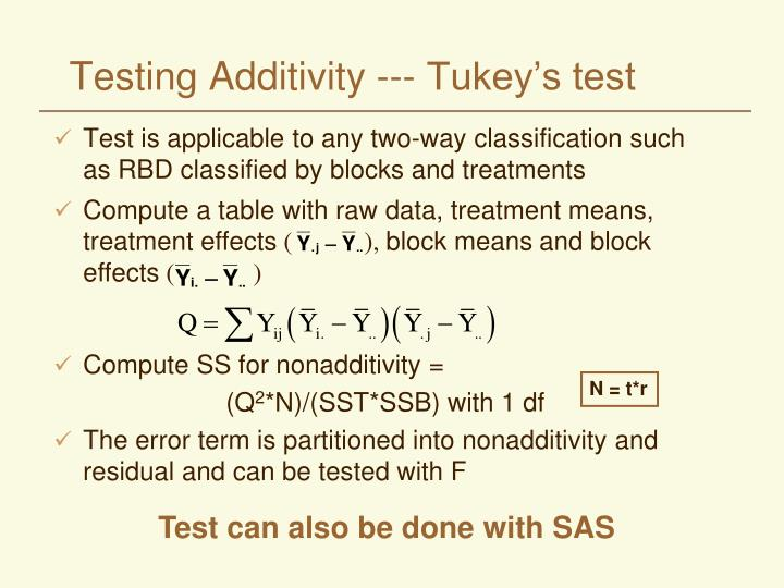 Testing Additivity --- Tukey's test