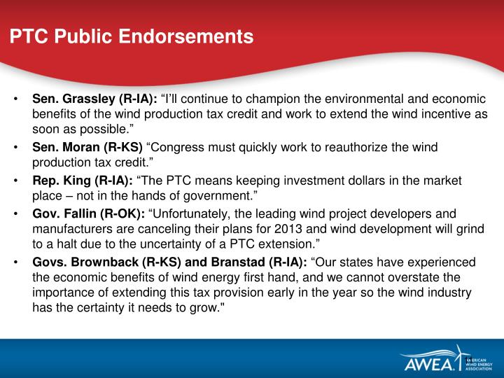 PTC Public Endorsements