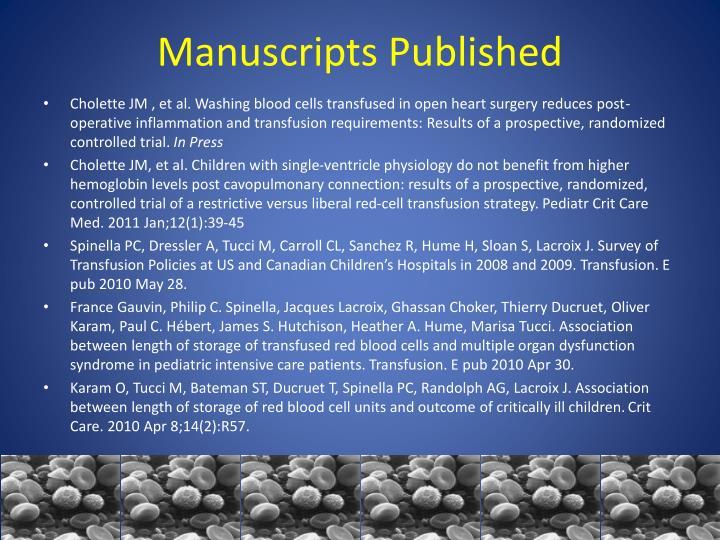 Manuscripts Published