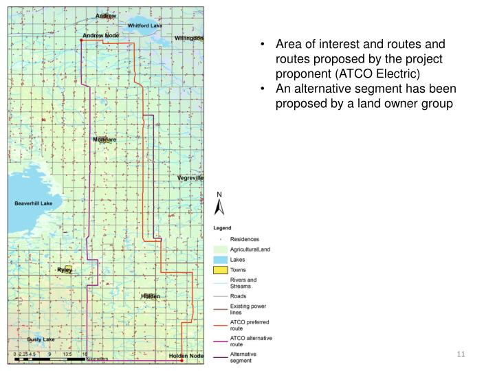 Area of interest and routes and routes proposed by the project proponent (ATCO Electric)