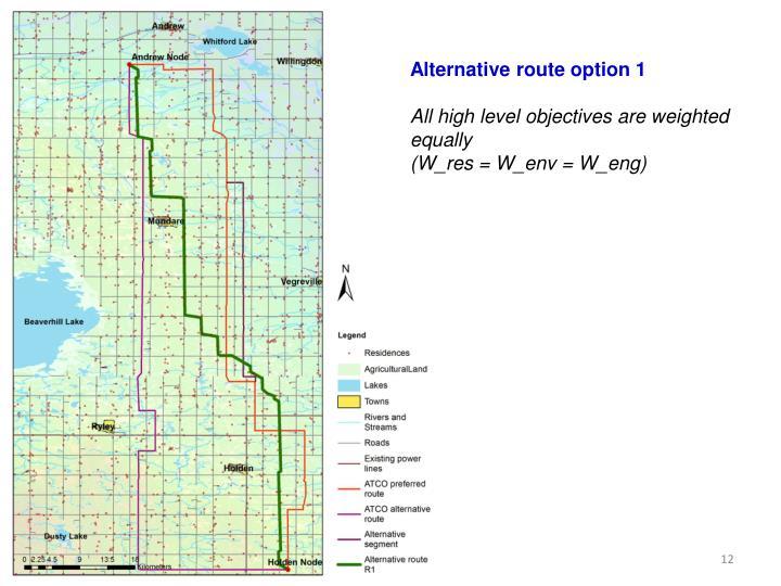 Alternative route option 1