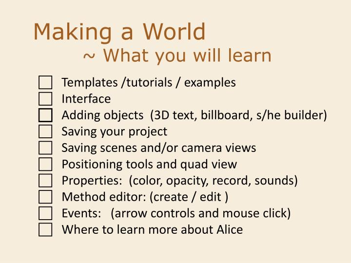Making a World