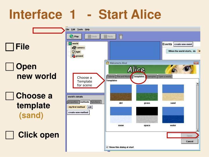 Interface  1   -  Start Alice