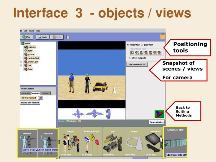 Interface  3  - objects / views