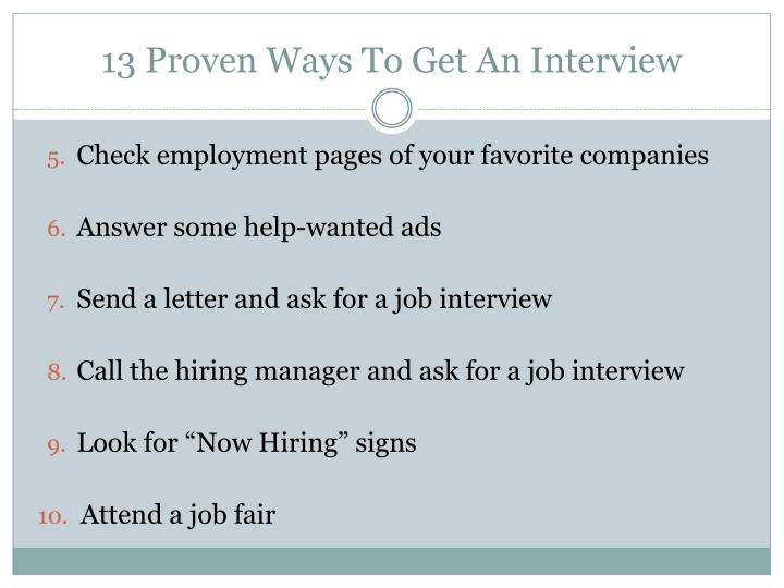 13 Proven Ways To Get An Interview