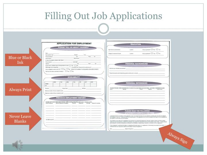 Filling Out Job Applications