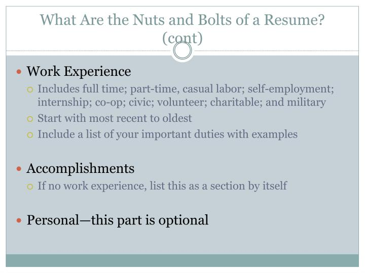 What Are the Nuts and Bolts of a Resume?  (